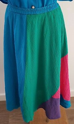 Vintage 80s Cotton Cheesecloth MULTI-COLOUR Colour Block Casual SKIRT size 16