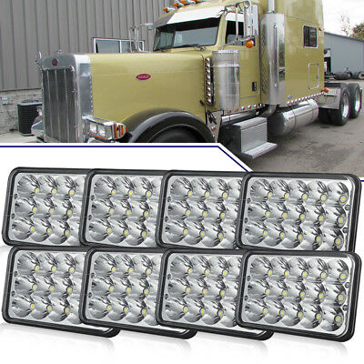 8x 4x6''LED Headlights Sealed H4 Bulbs For Kenworth H4-H13 120/132 T400 T600 8US