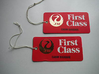 Two Vintage, Never Used: JAPAN AIR LINES_First Class_Cabin Baggage_BAG TAGS_1st