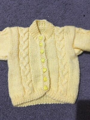 Baby Girls Or Boys Yellow Hand Knitted Long Sleeve Cardigan Size 0000 EUC