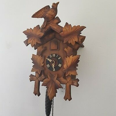 Vintage Black Forest  Wooden Cuckoo  Clock With Bird