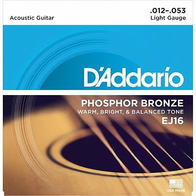 D'Addario EJ16 Phosphor Bronze Acoustic Guitar Strings. 12-16-24w-32w-42w-53w