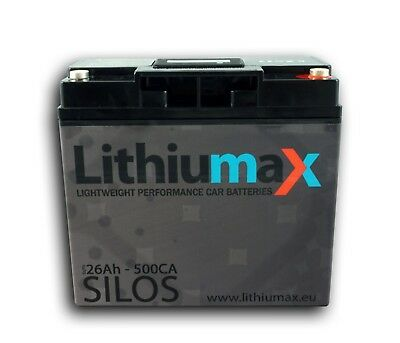 Lithiumax LiFePO4 Car, Boat, Road & Race Battery | SILOS BMS 1.8kg 500A 26Ah
