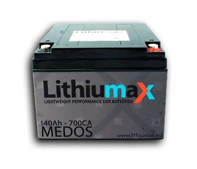 Lithiumax LiFePO4 Car, Boat, Road & Race Battery | MEDOS BMS 3.1kg 700A 40Ah