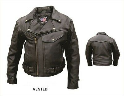 30% Off Allstate Mens Vented Solid Buffalo Leather Cycle Jacket Full Z. O. Liner