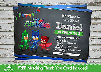 photograph relating to Printable Pj Masks known as PJ MASKS BIRTHDAY Celebration invitation printable with free of charge matching Thank By yourself card
