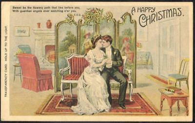 Christmas HTL Vintage Postcards - Courting Couple Kissing - Hold to the Light
