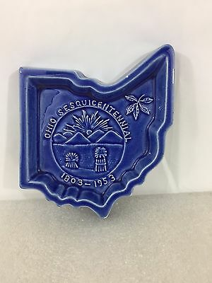 Vintage Ohio Sesquicentennial 1803-1953 BLUE Trinket Dish Ashtray Pottery