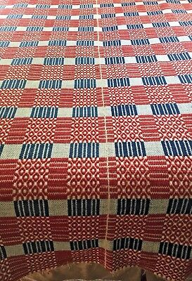 Collector Antique LINSEY WOOLSEY OVERSHOT Coverlet Blanket  Red White Blue 70x90
