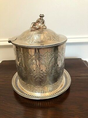 Antique Vintage Engraved Silver Tobacco Tea Coffee Footed Biscuit Barrel Box