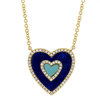 14K Yellow Gold Diamond Lapis Lazuli And Turquoise Heart Pendant Necklace
