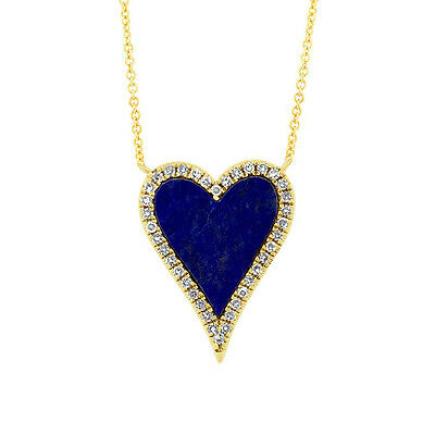 0.93tcw 14K Yellow Gold Natural Lapis Lazuli and Diamond Heart Pendant Necklace