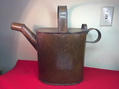 ANTIQUE Vtg Enamel Metal WATERING CAN Primitive Garden Tool Large Brown Beauty!
