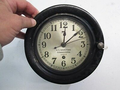 Wwii Ships Clock Marked U.s.maritime Commission 12813 Made By Seth Thomas #z299