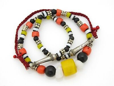 Special necklace with rare antique Yemeni brass beads & genuine black coral !