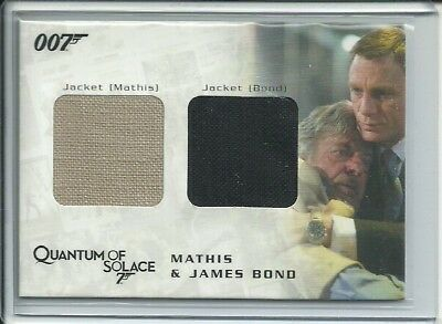 James Bond Archives- Bond & Mathis Movie Worn Jacket Qc 10 Costume Card