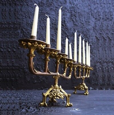 Antique pair of solid brass french alter candelabras
