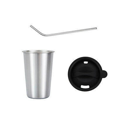 500ml Stainless Steel Travel Mug Tumbler Cup Drinking Cups with Straw Silver