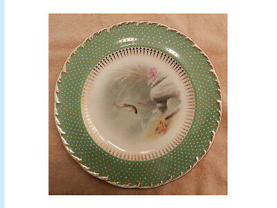 Minton Plate, China, Early Rare Hand-Painted Aquatic Scene by A. H. Wright.