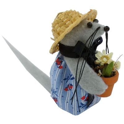 Handmade Gardening Mouse Ornament with Flower Pot & Flowers, Blue, Flower Print