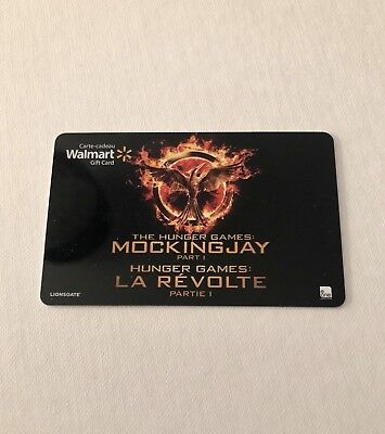WALMART Gift Card ZERO $ BALANCE, Hunter Games Mockingjay 1, No Value, Wal-Mart