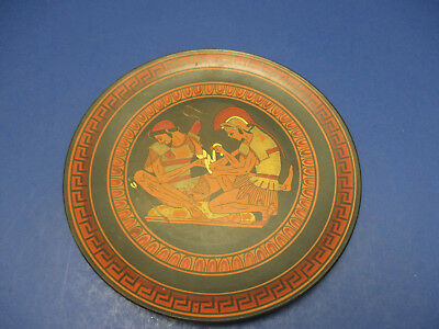 Greek Plate Tending the Wound of Patroclos Hand Painted in Greece 6.75""