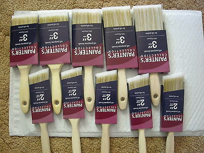 """LOT 10 Painter's Collection All Purpose Paint Brush 5 psc 3"""" Trim 5 psc 2"""" Angle"""