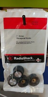 "RadioShack 274-0416 1"" Molded Hexagonal Knobs 2740416 set of 4"