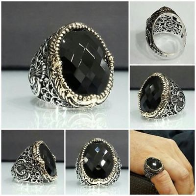 Handcraft 925 Sterling Silver Mens Jewelry Facated Black Onyx Men's Ring