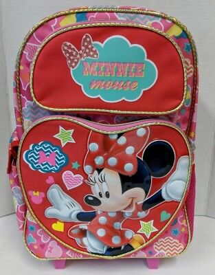 3ff9424e629b Minnie Mouse Rolling Backpack! Red Heart Stars Girls Large Roller School 16