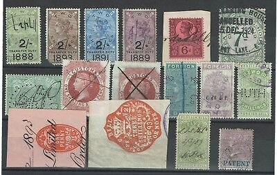 Great Britain 17 Used Revenue Stamps, few faults - C204