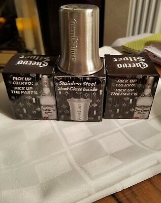 3 Jose Cuervo Tequila Silver Stainless Steel Shot Glasses New In Box