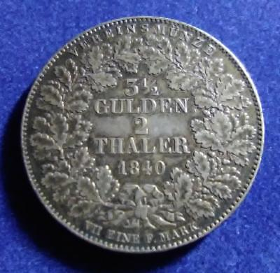 WURTTEMBERG - 1840 silver 2 Thaler - nicely toned original - XF
