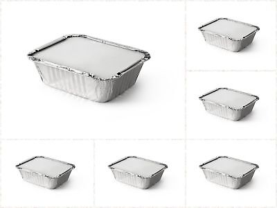 50 /100 /200 Aluminium Foil Food Containers Storage With Lid Takeaway Restaurant