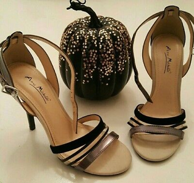 Anne Michelle L3R417 Ladies Black PU Diamante Strappy Shoes R34A