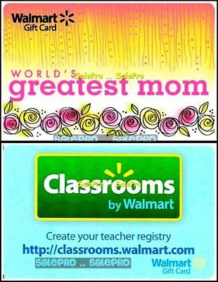 2x WALMART CLASSROOM MOTHER'S DAY WORLD'S GREATEST MOM COLLECTIBLE GIFT CARD LOT