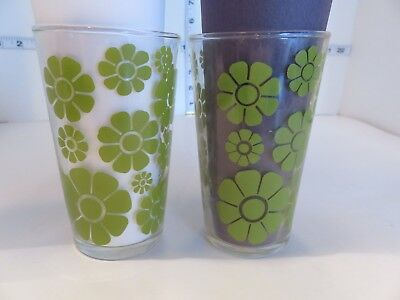 Vintage Green Daisy Federal Glass Tumblers Mcm 2 Glasses