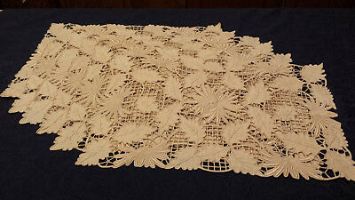 Antique Madeira Chrysanthemum and Leaves cutwork placemats,runner,napkins