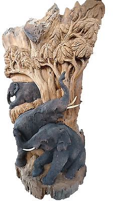 Reclaimed stump teak wood hand carved Rustic Sculpture Decor elephants natural