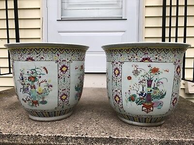 A Pair Of Chinese Antique Large Flower Pots