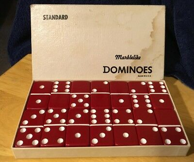 VTG Marblelike Standard Red Dominoes 28 Pieces Original Box Puremco Co. Waco TX