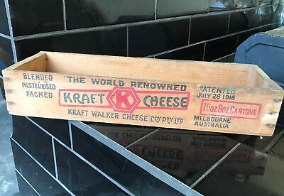 KRAFT CHEESE Vintage Wooden Shop Sign Display Box