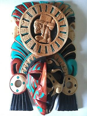 Mayan Calendar Aztec Mexican Carved Wood Mask Cedar Ships Free To USA