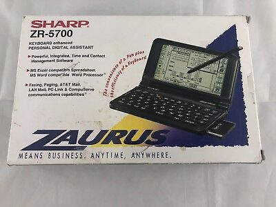 Vintage Sharp Zaurus ZR-5700 PDA Mobile Companion, with stylus and manual