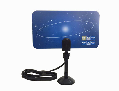 Digital Super Thin Indoor TV Antenna HDTV DTV HD VHF UHF Flat Design High Gain 2