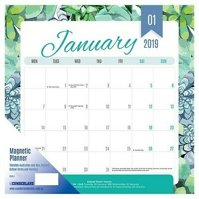 2019 Cumberland Fashion Magnetic Wall Calendar Month To View 325 x 315mm - Green