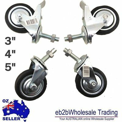 "4PC 2""2.5"" 3"" 4"" 5"" Swivel Caster Castor wheel thread Bolt nut 2 with Brake"