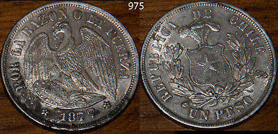 1877 Chile Peso Silver Extra Fine+ Crown Silver Dollar Size Key Date