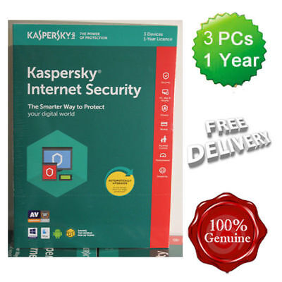 Kaspersky Internet Security 2019 3 Users Multi device inc Antivirus VAT UK