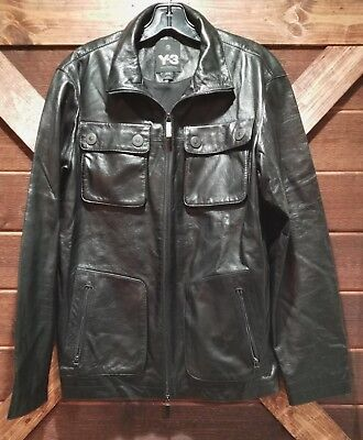 af1cc71cd 2000 s adidas Y3 MEN S LAMB LEATHER JACKET SIZE MEDIUM BLACK MESH LINER ...
